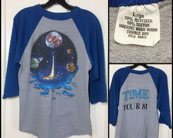 1980s ELO 1981 Time Tour baseball t-shirt size large 19x24 heather gray blue 2 tone Electric Light orchestra