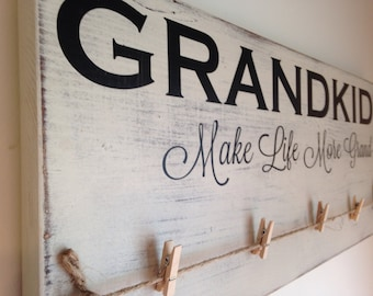 Grandkids make life more grand! Photo holder with clothespins. Mothers Day gift, pregnancy reveal or announcement. Gift to grandparents.