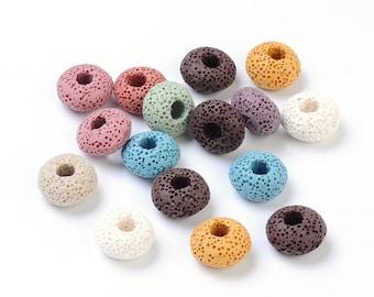 Assortiment de couleur - lave pierres précieuses perles européennes - 15mm de diamètre, épaisseur 9mm, trou: 5mm