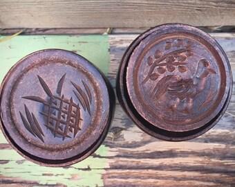 Antique Carved Wood Butter Mold Pineapple or Bird Design, Wooden Stamp, Primitive Decor, Butter Stamp, Butter Press, Butter Print