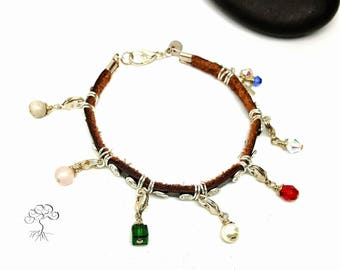 Leather Purity Charm Bracelet Silver Plated/  Detachable Charms/ Gemstone and Glass/  Made to Order/ Sweet Sixteen/ Gift Idea for Tween Girl