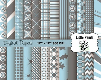 70% OFF SALE Light Blue and Gray Digital Scrapbooking Papers 24 jpg files 12 x 12 - Instant Download - D163