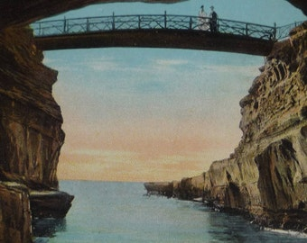 Bridge at Sunset Cliffs, San Diego, California Antique View Postcard