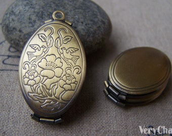 2 pcs Antique Bronze Two Love Birds Photo Locket 20x33mm Double Picture Locket A3547