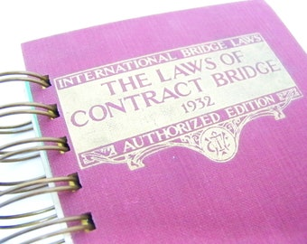 Contract Bridge book journal diary planner altered book Laws of Contract Bridge 1932