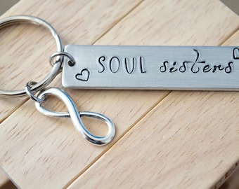 Soul Sisters ~ LIGHT WEIGHT ALUMINUM~Rectangle Key Chain with Infinity Charm