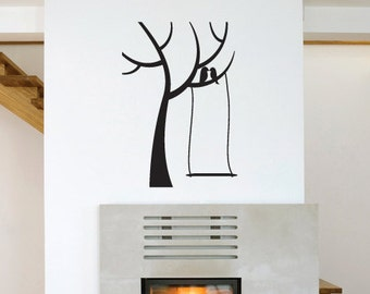 Kissing Birds Tree Wall Decal Art Sticker Design Christmas Gift