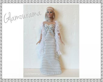 "Tyler Doll Clothes - GLAMOURAMA Gown, Boa and Jewelry Set - Custom Fashion fits 16"" Tonner dolls - by dolls4emma"