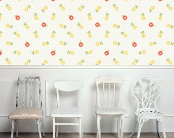 Kitchen Removable Wallpaper | Apple and Pear Peel and Stick Wallpaper | Re-positionable Wallpaper for Home Décor W1027