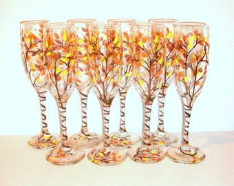 Bridesmaids Gift - Bachelorette Party Fall Autumn Leaves Hand Painted Champagne Flutes Set of 8 - 6 oz.Toasting Flutes Yellow Orange Brown