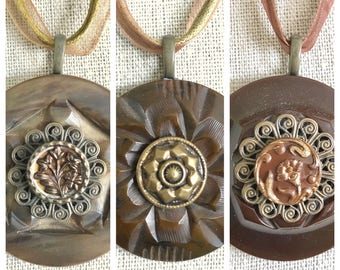 Necklace Set - Three Vintage Button Necklaces - Brown and Gold - Gift Box