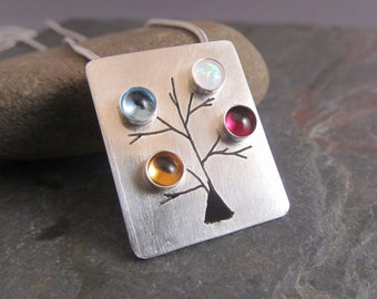 Mother's Birthstone Necklace in Sterling Silver, Custom Mother's Necklace