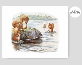 "Fishing Nursery Download, Beatrix Potter Print (Boys Room Art, Baby Girls Bedroom Wall Decor, Printable Squirrel Nutkin) ""Fishing Derby"""