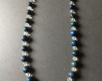 ART DECO BEAD Glass necklace with metal chain