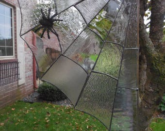 Large Spider Web, in Stained Glass