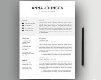 Professional Resume Template | Modern Resume Template | CV Template + Cover Letter | 2 Page Resume | Word Resume | Resume Design Anna