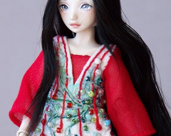 Porcelain bjd art doll with red and white dress and black hair, little minion doll by lady meow