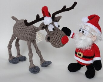 Amigurumi Crochet Pattern Set - Santa Claus and Rudolf the Reindeer - English Version