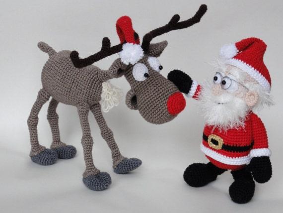 Amigurumi Reindeer Free Pattern : Amigurumi crochet pattern set santa claus and rudolf the