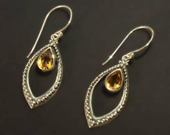 925 sterling silver citrine quartz marquee drop hook earrings