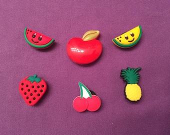 6-pc Fruits Shoe Charms for Crocs, Silicone Bracelet Charms, Party Favors, Jibbitz