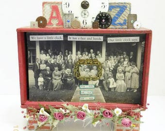 Mixed Media Clock Themed Assemblage | Cigar Box Assemblage | Vintage Family Reunion Photo