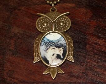 Fox Necklace, Moon Jewelry, Ukiyo-e, Japanese, Woodblock Art, Bronze Owl Pendant