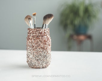 Rose Gold & White Gold Ombre Glitter Vase, Rose Gold Makeup Brush Jar, Rose Gold Heart Decor