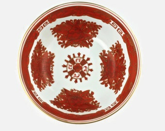 Vintage Chinese Porcelain Rust Fitzhugh Style Hand Painted Console Bowl