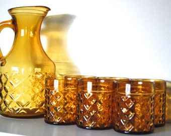 Retro Amber Pitcher and Glasses – Set of 7