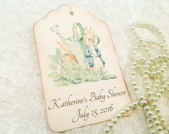 Peter Rabbit Personalized Baby Shower Thank You Favor and Gift Tag-Beatrix Potter Peter Rabbit Birthday Favor Tags-Set of 12