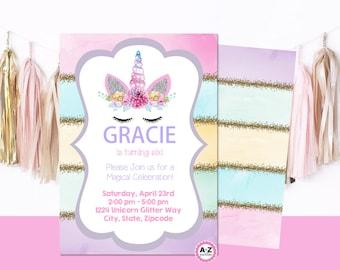 UNICORN EDITABLE  Invitation - Rainbow Colors - Unicorn Invitation - Edit - Print Today - Rainbow - Unicorn Party - Pastel Colors