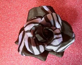 Gorgeous Rockabilly Lilac Zebra Black Rose Hair Flower PinUp