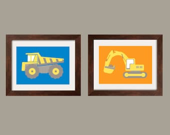 Construction Vehicles Prints, Nursery Wall Art Toddler Boy print set of 2 prints in blue, orange, yellow and gray