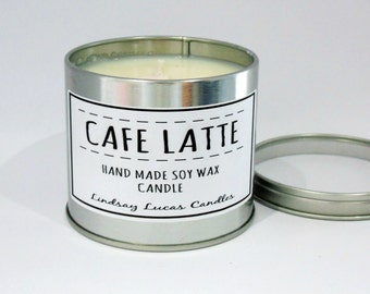 Cafe Latte Candle, Coffee Scented Candle, Scented Candle, Tin Candle, Coffee Candle, Cafe Latte Scent, Large Candle, Strong Candle