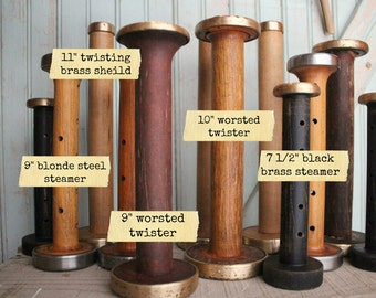Steamer Bobbins Vintage Wooden Textile Mill Spools with Rustic Brass & Steel Ends Display Organize Ribbons Trims with Wood Bobbin Storage