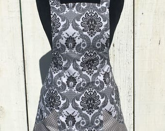 Women's Scroll Print Apron with Gray and White Polka Dot Side Panels and Pockets ~ Gray / Black / White ~ One Size Fits Most ~ Handmade