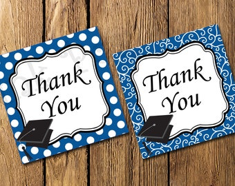 Printable Royal Blue Graduation Thank You Tags - Instant Download