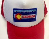 Youth Red Trucker Hat-with Colorado Flag Patch-kids tru...