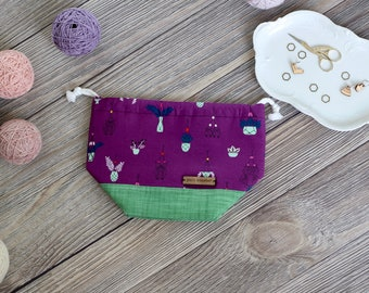 Knitting Project Bag | Purple Planters and Owl Outlines Motif Sock Sack Yarnmonster Knitting Project Bag