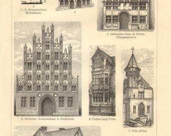1910 Vintage Print of Dwelling Houses