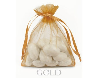 10 Gold Organza Bags, 6 x 9 Inch Sheer Fabric Favor Bags