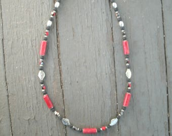 "Red Coral and black lava beaded necklace,  22 3/4 "" long, handmade necklace, silver decorative multi shaped beads, magnetic closure, OOAK"