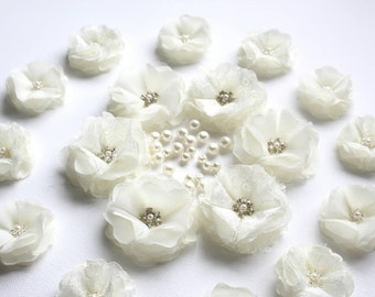 Lace Flowers, Ivory Chiffon Flowers, Embellishments, Floral Accessories, Table Centerpieces, 3D Flowers, Sew on Flowers, Fabric Flowers