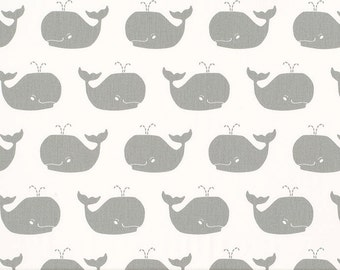 SHIPS SAME DAY Whale Tales White Storm Grey Twill Fabric, Whales Nursery Fabric, Premier Prints Storm Gray Drapery Fabric - by the yard