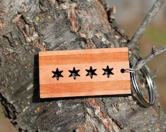 Chicago flag keychain made in the USA // Windy City // Cubs // White Sox // Illinois // Lake Michigan // handmade // custom // personalized