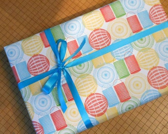 party lanterns gift wrap festive multi-colored all purpose thick wrapping paper