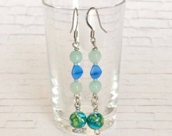 Colorful Dangle Earrings Blue Green Earrings Blue Earrings Stone Bead Earrings Boho Earrings Long Drop Earrings Holiday Gift Her Gift Mom