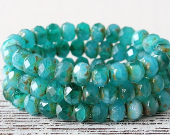 9x6mm Rondelle Beads - Czech Glass Beads - Jewelry Making - Deep Seafoam Mix- (10 or 25 bead strand)