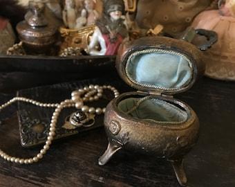 Antique art nouveau gold casket jewelry box